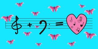 Вектор: дискантовый ключ плюс басовый ключ равн к влюбленности и музыке Яркая голубая предпосылка и розовые бабочки Стоковая Фотография