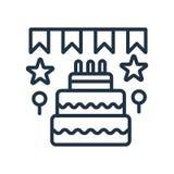 Вектор дня рождения и значка партии изолированный на белых предпосылке, знаке дня рождения и партии иллюстрация штока