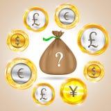 вектор дег изображения grunge мешка предпосылки графический Валюта - доллар - евро - фунт стерлинга - иены также вектор иллюстрац иллюстрация штока