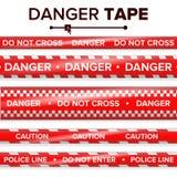 Вектор ленты опасности красная белизна Прокладки предупреждающей ленты Реалистическая пластичная иллюстрация комплекта лент опасн иллюстрация штока