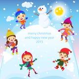 Вектор детей, снега и снеговика поздравительной открытки рождества Стоковое Изображение