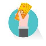 Вектор дела доллара денег задвижки хватки руки Стоковое Изображение