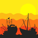 Вектор захода солнца рыбацкой лодки иллюстрация вектора