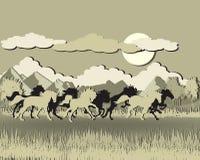 вектор захода солнца силуэта иллюстрации лошади предпосылки Стоковое Изображение