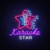 Вектор звезды караоке Неоновая вывеска, светящий логотип, символ, светлое знамя Рекламировать яркий бар караоке ночи, партия, дис иллюстрация штока