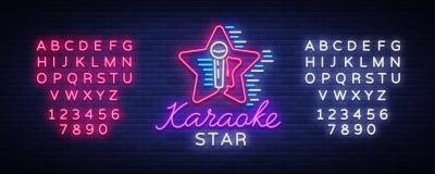 Вектор звезды караоке Неоновая вывеска, светящий логотип, символ, светлое знамя Рекламировать яркий бар караоке ночи, партия, дис Стоковые Фото