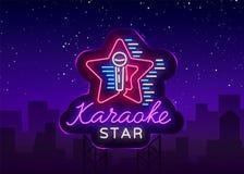 Вектор звезды караоке Неоновая вывеска, светящий логотип, символ, светлое знамя Рекламировать яркий бар караоке ночи, партия, дис Стоковая Фотография RF