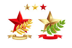 вектор звезд знаков лавра ветвей установленный бесплатная иллюстрация