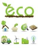 вектор зеленой иконы eco установленный Стоковые Изображения RF
