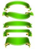 вектор зеленой тесемки знамен установленный Стоковое Изображение