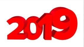 Вектор знака 2019 красных цветов Знак 3d 2019 Дизайн поздравительной открытки Красный иллюстрация Стоковое Фото