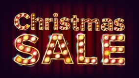 Вектор знака продажи рождества электрическое накаляя число 3D Рогулька, знамя, шаблон брошюры Праздники рождества рекламируя Стоковое Изображение