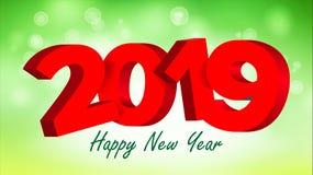 вектор знака 2019 3D Знак 2019 Брошюра Знамя торжества Нового Года праздника счастливое, карточка иллюстрация Стоковое Изображение