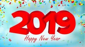 вектор знака 2019 3D Знак 2019 Современная брошюра рождества Сезонная рогулька Красный Новый Год предпосылки счастливое Стоковое Фото