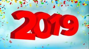 вектор знака 2019 3D Знак 2019 Современная брошюра рождества Сезонная рогулька Торжество Нового Года праздника счастливое Стоковое Изображение RF