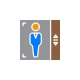 Вектор значка лифта, заполненный плоский знак, твердая красочная пиктограмма изолированная на белизне Стоковые Фото
