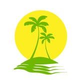 Вектор значка острова Солнця пальм тропический Стоковая Фотография