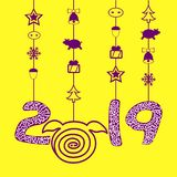 Вектор значка свиньи изолировал 2019, счастливый Новый Год Голубое backgraund бесплатная иллюстрация