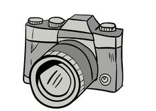 Вектор значка doodle камеры с белой предпосылкой стоковое фото