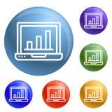 Вектор значков ноутбука финансов установленный иллюстрация штока