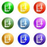 Вектор значков печати установленный иллюстрация вектора