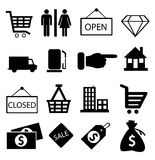 Вектор значков покупок Стоковые Изображения RF
