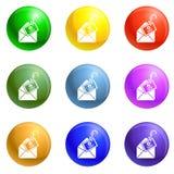 Вектор значков почты phishing установленный бесплатная иллюстрация