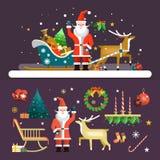 Вектор значков рождества и Нового Года установил в квартиру Стоковые Изображения RF