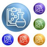 Вектор значков формулы химического флакона установленный иллюстрация штока