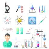 Вектор значков химии символов лаборатории иллюстрация штока