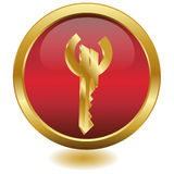 вектор золотистого ключа евро кнопки 3d Стоковые Фото
