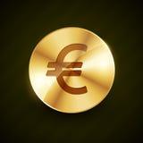 Вектор золотой монетки символа евро сияющий Стоковое Фото
