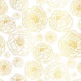 Вектор золотой на белом пионе цветет предпосылка картины лета безшовная Большой для элегантной ткани текстуры золота, карточек иллюстрация штока