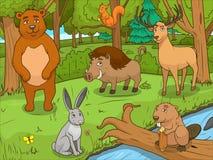 Вектор игры животных шаржа леса воспитательный Стоковые Изображения