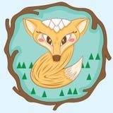 Вектор дизайна лисы характера маленький Стоковые Изображения