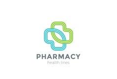 Вектор дизайна креста логотипа фармации линейный клиника бесплатная иллюстрация