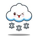 Вектор дизайна милого персонажа из мультфильма значка стороны kawaii снежинки облака плоский Стоковые Изображения RF