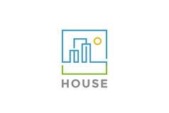 Вектор дизайна логотипа недвижимости линейный