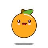 Вектор дизайна оранжевого kawaii значка персонажа из мультфильма плодоовощ плоский Стоковое Фото