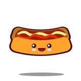 Вектор дизайна фаст-фуда kawaii значка персонажа из мультфильма горячей сосиски плоский Стоковые Изображения RF
