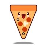 Вектор дизайна фаст-фуда kawaii значка персонажа из мультфильма пиццы плоский Стоковое фото RF