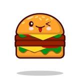 Вектор дизайна фаст-фуда kawaii значка персонажа из мультфильма гамбургера плоский Стоковая Фотография