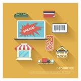 Вектор дизайна E-comerce плоский Стоковая Фотография