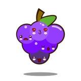 Вектор дизайна kawaii значка персонажа из мультфильма плодоовощ виноградин плоский Стоковая Фотография