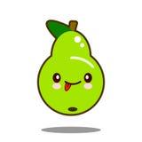 Вектор дизайна kawaii значка персонажа из мультфильма плодоовощ груши плоский Стоковые Изображения RF