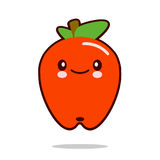 Вектор дизайна kawaii значка персонажа из мультфильма плодоовощ Яблока плоский Стоковое Изображение