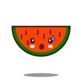 Вектор дизайна kawaii значка персонажа из мультфильма плодоовощ Яблока арбуза плоский Стоковые Изображения