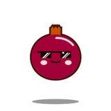 Вектор дизайна kawaii значка персонажа из мультфильма плодоовощ гранатового дерева плоский Стоковое Изображение RF