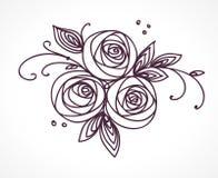 вектор изображения цветка букета яркий Стилизованный чертеж руки роз Стоковая Фотография RF