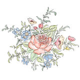 вектор изображения цветка букета яркий флористическая рамка обрамляет серию Стоковые Изображения RF